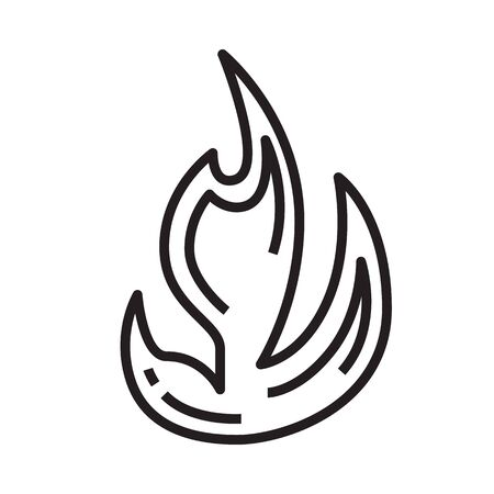 Flame icon in line and pixel perfect style. Fire element for tarot cards or game web design. Magic vector icon for fortuneteller website. Isolated object on a white background. Vettoriali