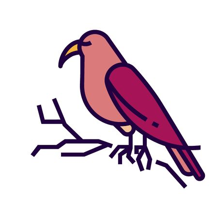 Bird icon in flat and pixel perfect style. Bird is sitting on branch. Sign for tarot cards or game web design. Magic vector icon for fortuneteller website. Isolated color object on a white background. Ilustracja