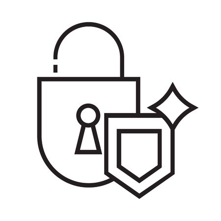 Secure icon is in line and pixel perfect style. Guarantee symbol for web design. Protection vector element for safety website. Isolated object on a white background.