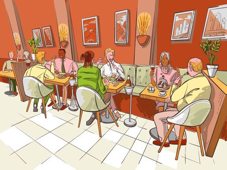 Family dinner or scene of breakfast is in restaurant interior. People are talking and eating in a cafe or a bistro of the city . Love date or business meeting are in the restaurant. Vector color illustration is in sketch style.