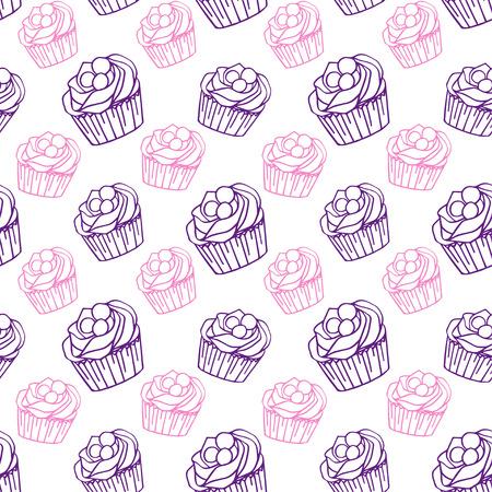 カップケーキパターン ベクトルイラスト