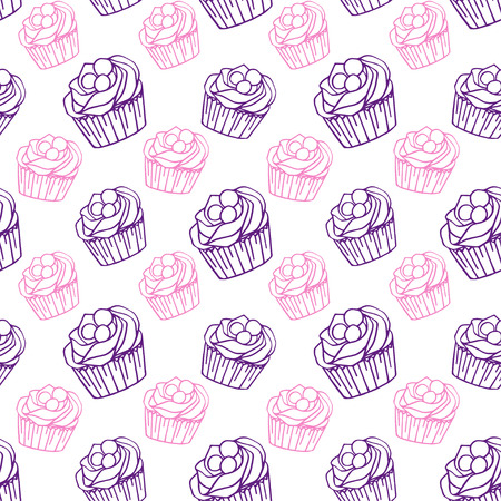 Cupcake pattern Vector illustration