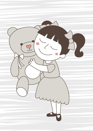 smooch: Little girl with bear toy