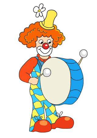 drum and bass: Clown banging a big bass drum