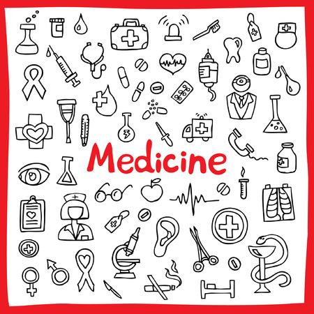 red bathrobe: Hand drawn medical icons set. Vector illustration. (Tools, organs, symbols)