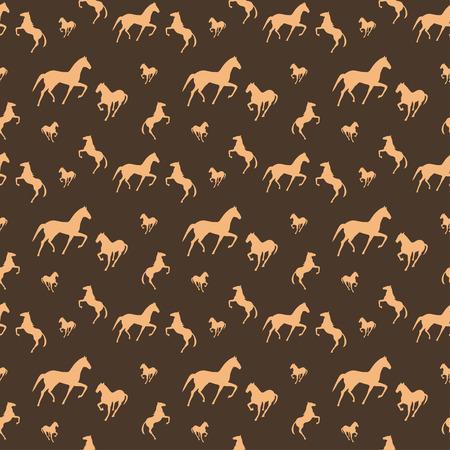 brown: Brown horses seamless pattern