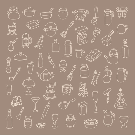 Set of 60 icons of different types of cookware