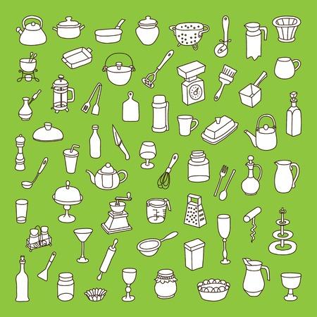 cookware: Conjunto de 60 iconos de los diferentes tipos de utensilios de cocina Vectores