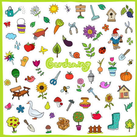 Set of hand drawn gardening icons Vector