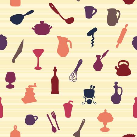 Seamless Pattern of Kitchen utensil Vector