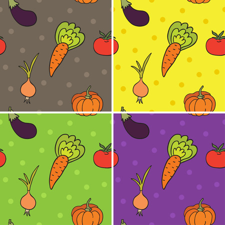 four pattern: Four pattern with vegetables Illustration