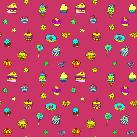 gateau: Holiday seamless pattern with ice-cream, pie and cupcakes