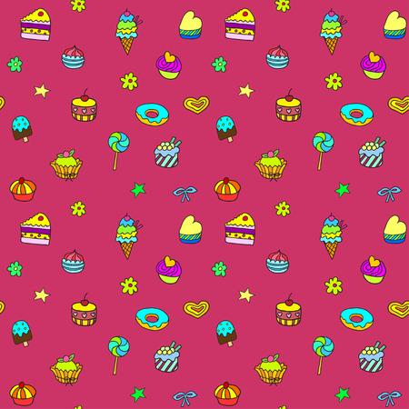 gateau: Vacanze seamless con gelato, torta e dolcetti Vettoriali