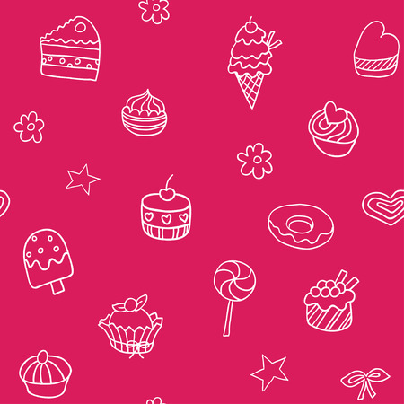 goodies: Seamless pattern with ice-cream, pie and cupcakes Illustration