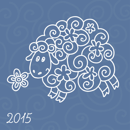 year of sheep: 2015 new year card with sheep. vector illustration