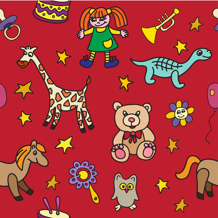 horse pipes: seamless pattern with toys