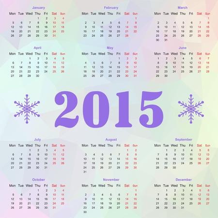 mon 12: Happy New year 2015 celebration European calendar with snowflakes