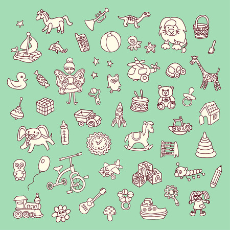 Set of babys toys elements Vector