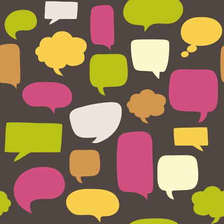 Naadloze patroon met tekstballonnen Stock Illustratie