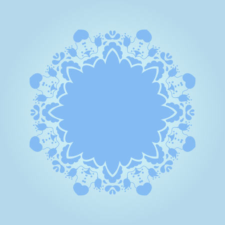 fond: Beautiful blue ornamental background. Fond fine greeting card, round postcard with floral ornaments, excellent element for menu and invitation.