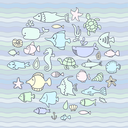 Maritime, vector set, fish in the waves