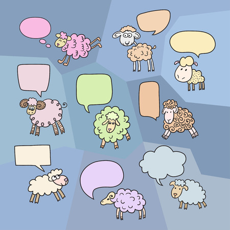 year of sheep: Sheep set with speech bubbles. Symbol 2015 Year, year of Sheep. Vector Illustration