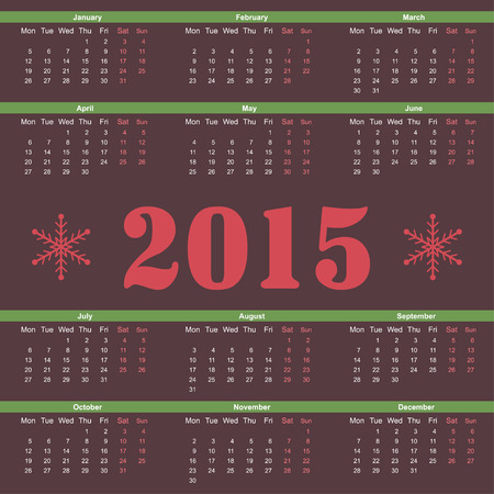 mon 12: Simple european 2015 year vector calendar