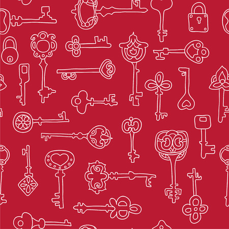 victorian gates: Seamless pattern with vintage keys