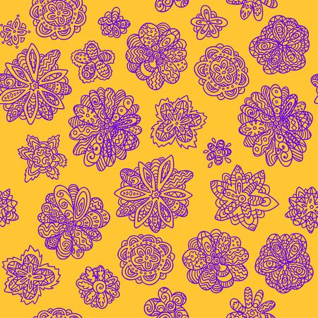 doodle floral seamless wallpaper background pattern design Illustration