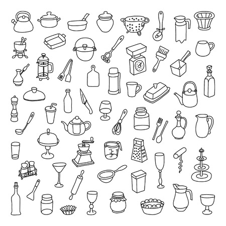 sieve: Set of 60 icons of different types of cookware