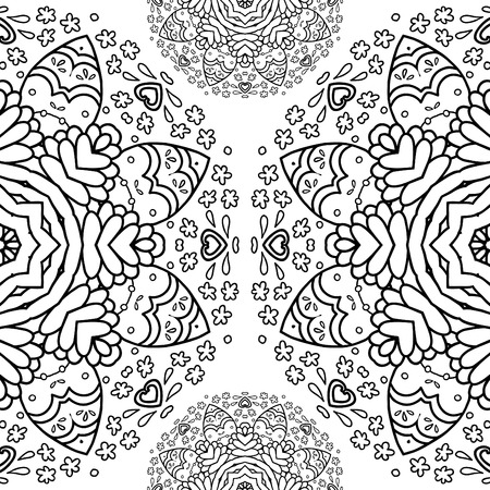 realization: Ornamental half round lace pattern circle background crocheting handmade lace lacy arabesque designs. Oriental traditional ornament motif in modern realization