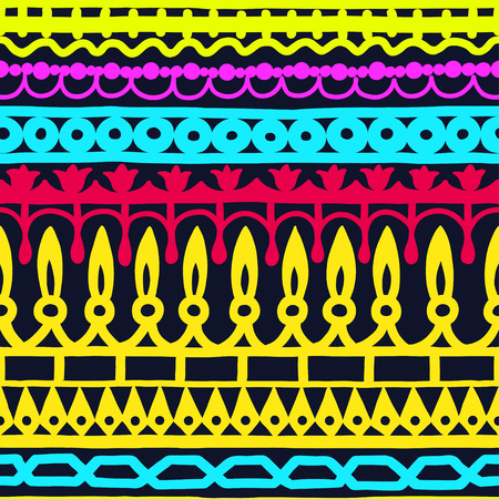 Ethnic seamless stripe pattern. Vector illustration for your cute design. Borders and frames. Vector