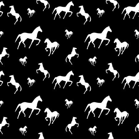 chestnut male: horses seamless pattern Illustration
