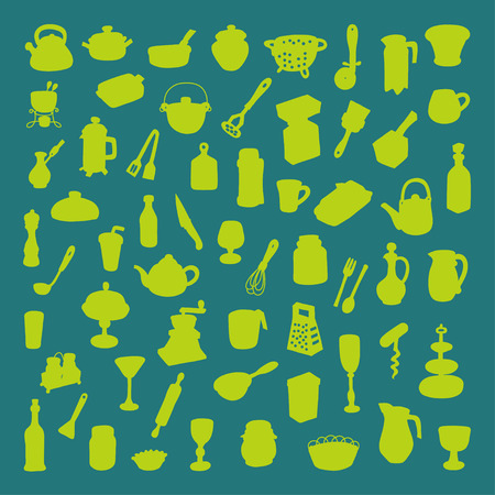 Set of 60 icons of different types of cookware Vector