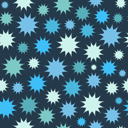 Abstract multicolor star firework background. Circles seamless pattern. Vector