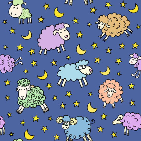 Seamless pattern with sheep in night Vector