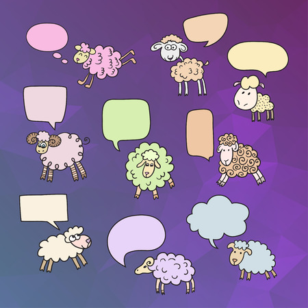 year of sheep: Sheep set with speech bubbles. Symbol 2015 Year year of Sheep. Vector Illustration Illustration
