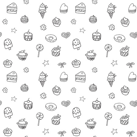 Holiday seamless pattern with icecream pie and cupcakes Vector