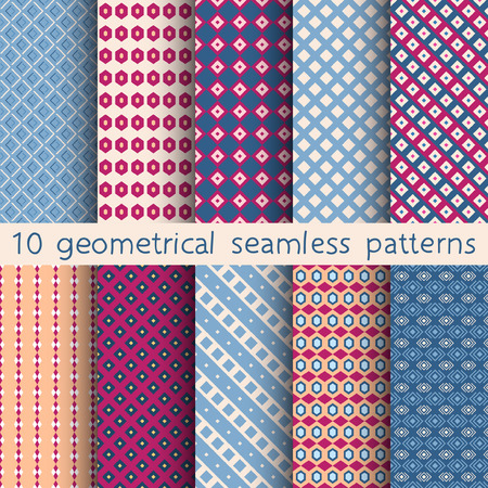 contrasty: 10 geometrical seamless patterns Pattern Swatches vector. Texture can be used for wallpaper pattern fills web page background. Illustration