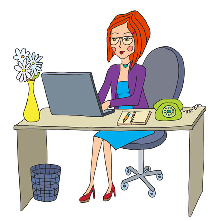 woman behind: business woman works behind the computer Illustration