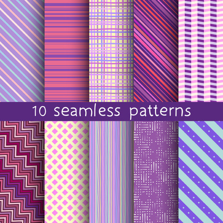 contrasty: 10 striped vector seamless patterns. Textures for wallpaper fills web page background. Set of geometric ornaments. Illustration