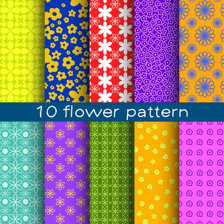 patrones de flores: 10 Flor de patrones de vectores sin fisuras diferentes.