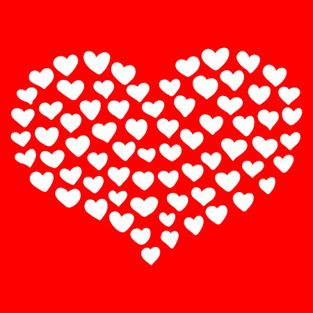 smaller: Big heart shape comprised by smaller ones isolated on red background.