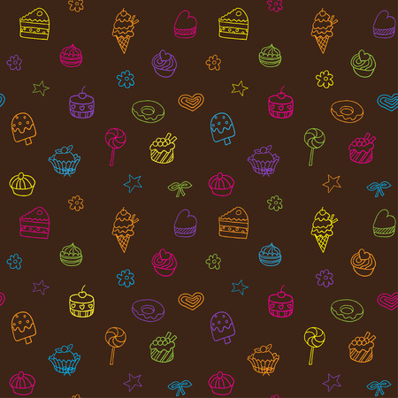 cute wallpaper: Seamless pattern with icecream pie and cupcakes