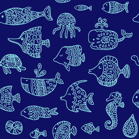 sea creatures: Seamless pattern with sea creatures Illustration