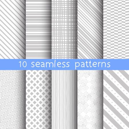 10 gestreept grijs vector naadloze patronen. Vector illustratie voor web design. Endless textuur kan worden gebruikt voor behang, patroon fill, webpagina achtergrond.