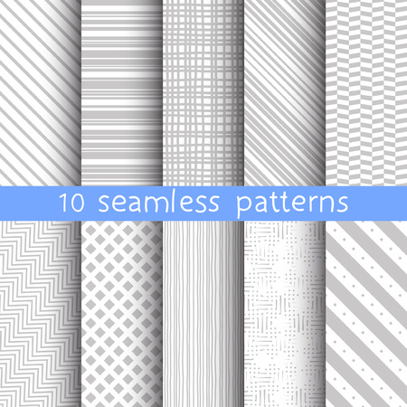 10 striped grey vector seamless patterns. Vector illustration for web design. Endless texture can be used for wallpaper, pattern fill, web page background.