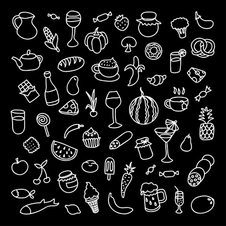cuisines: Set of 55 icons on the theme of food, different dishes and cuisines