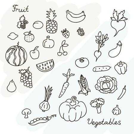 Vector illustratie van groenten en fruit verzamelen in zwart-wit