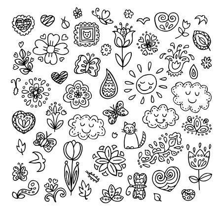 draw: Spring doodles set. Hand draw flowers, sun, clouds, butterflies. Season of the blossom, illustration, cute background. Illustration